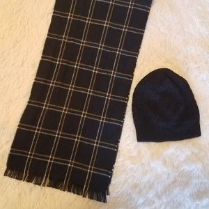 Hat with Black & Yellow Plaid Scarf